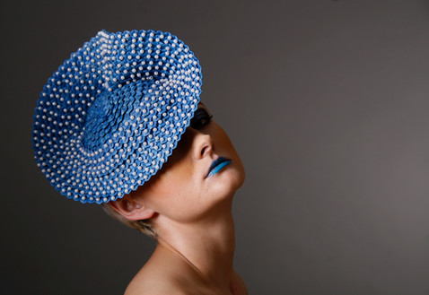 Blue strip straw with pearl