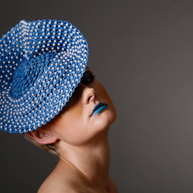 Blue Straw with Pearls
