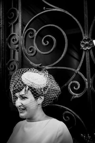 Embroidered beret with veil