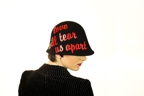 Love will tear us apart black felt cloche
