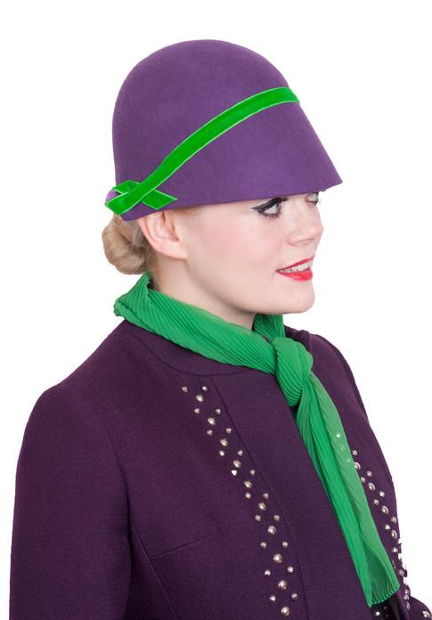 Purple and Green felt cloche