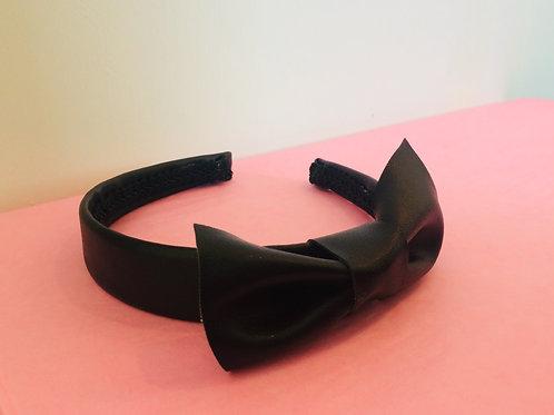 Black Vinyl Hairband with Bow