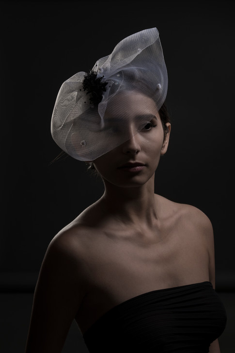 White tulle headpiece
