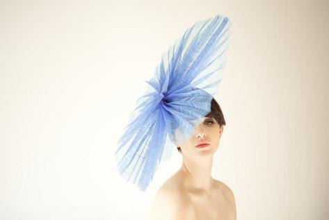 Blue sinamay origami fan