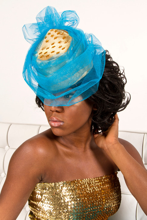 Gold and Blue Tulle Cocktail Hat