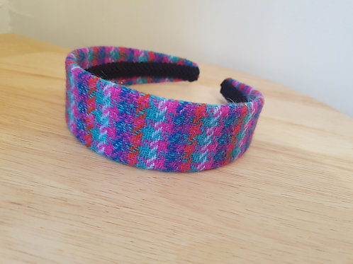 Red/Green/White/Pink Harris Tweed Hairband