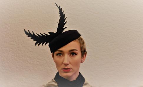 Navy blue felt thistle hat
