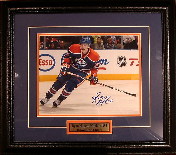 Nugent-Hopkins, Ryan Autographed Oilers 8x10 Photo Framed