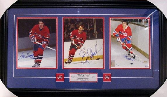 Robinson, Savard & Lapointe Triple Autographed Canadiens 8x10 Photos Framed