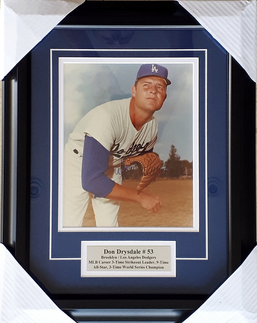 Drysdale, Don Autographed Dodgers 8x10 Photo Framed