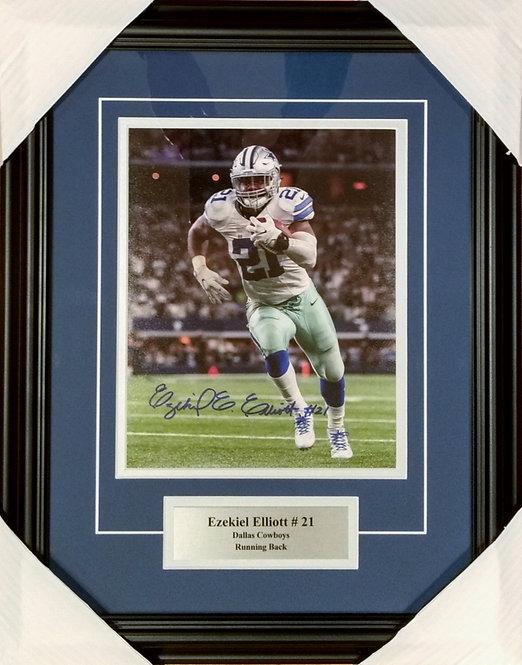 Elliott, Ezekiel Autographed Cowboys 8x10 Photo Framed