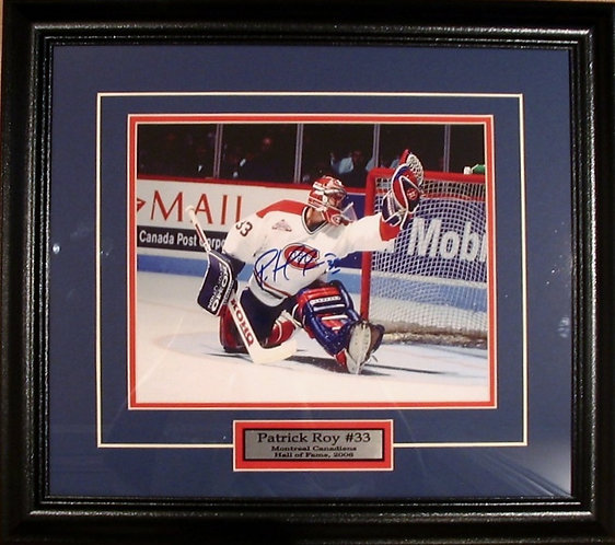 """Roy, Patrick Autographed Canadiens """"Glove Save""""  8x10 Photo Framed"""