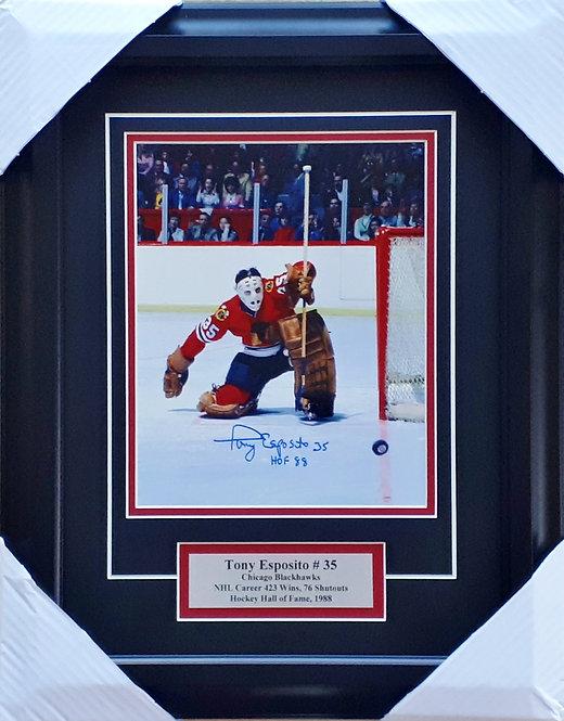 Esposito, Tony Autographed Blackhawks 8x10 Photo Framed