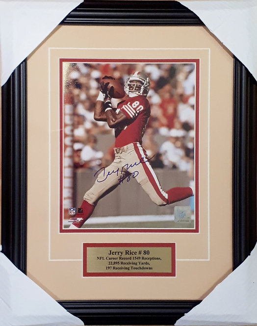 Rice, Jerry Autographed 49ers 8x10 Photo Framed