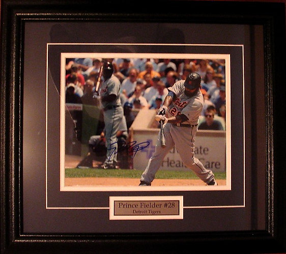 Fielder, Prince Autographed Tigers 8x10 Photo Framed