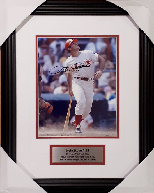 Rose, Pete Autographed Reds 8x10 Photo Framed