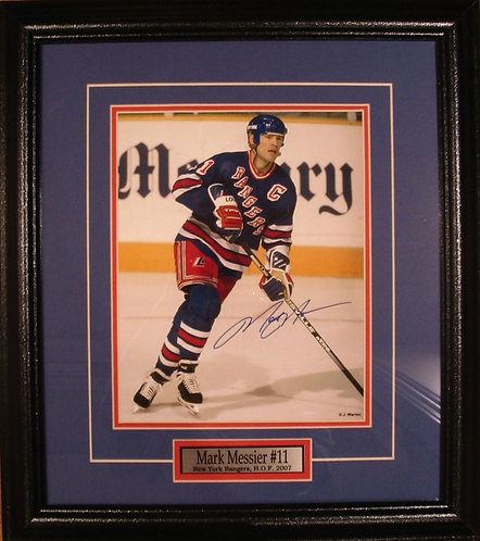 Messier, Mark Autographed Rangers 8x10 Photo Framed