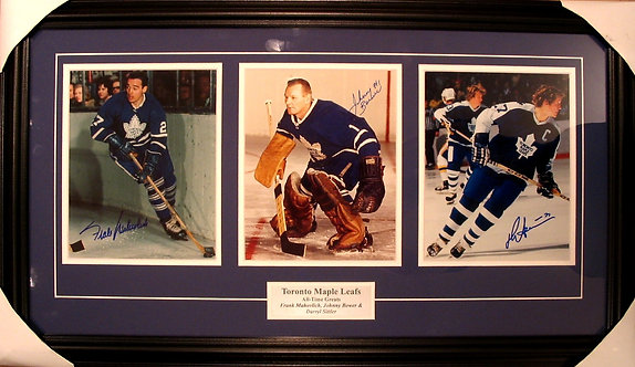 Mahovlich, Bower & Sittler Triple Autographed Maple Leafs 8x10 Photos Framed