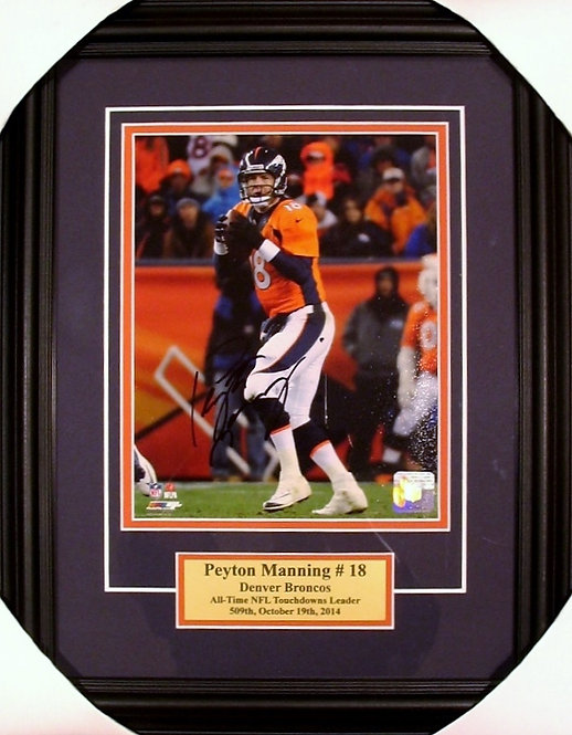 Manning, Peyton Autographed Broncos 8x10 Photo Framed