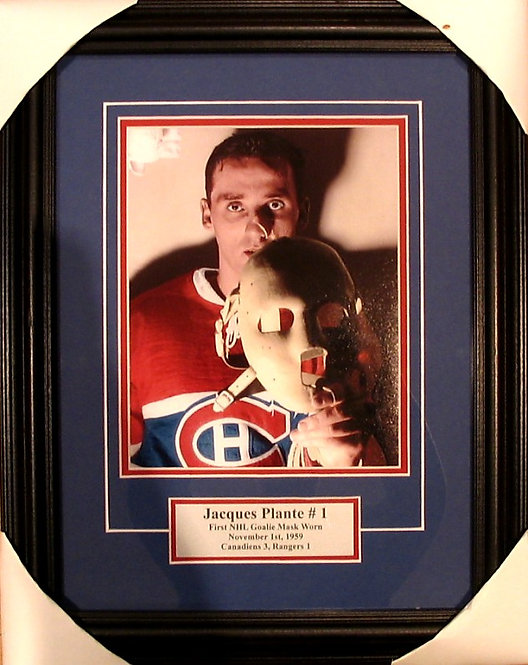 "Plante, Jacques Canadiens ""1st Goalie Mask"" 8x10 Photo Framed"