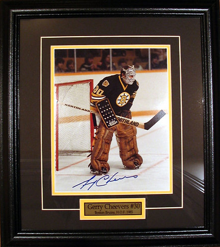 Cheevers, Gerry Autographed Bruins 8x10 Framed