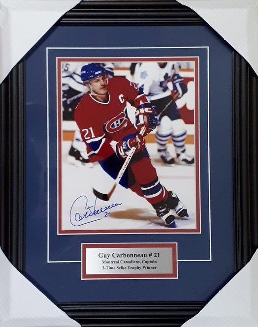Carbonneau, Guy Autographed Canadiens 8x10 Photo Framed