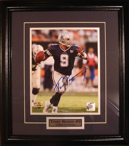 Romo, Tony Autographed Cowboys 8x10 Photo Framed