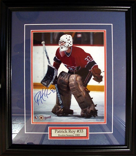 Roy, Patrick Autographed Canadiens Rookie 8x10 Photo Framed