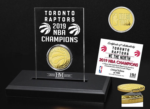 Toronto Raptors 2019 NBA Champions Etched Acrylic & Gold Coin