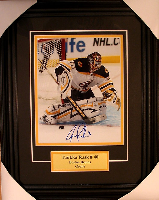 Rask, Tuukka Autographed Bruins 8x10 Photo Framed