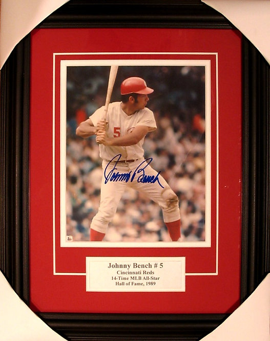 Bench, Johnny Autographed Reds 8x10 Photo Framed