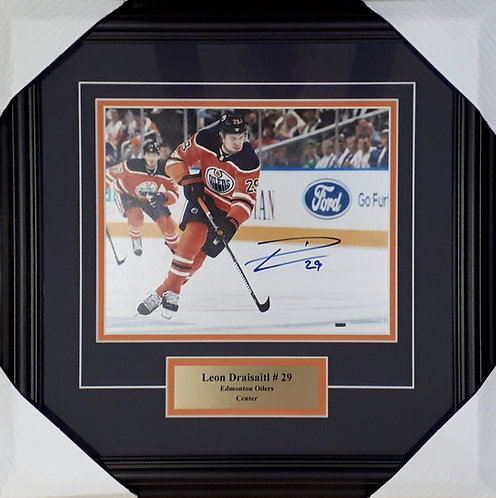 Draisaitl, Leon Autographed Oilers 8x10 Photo Framed