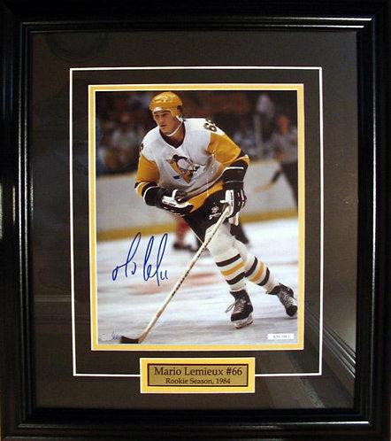 Lemieux, Mario Autographed Penguins Rookie 8x10 Photo Framed