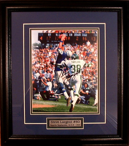 Largent, Steve Autographed Seahawks 8x10 Photo Framed