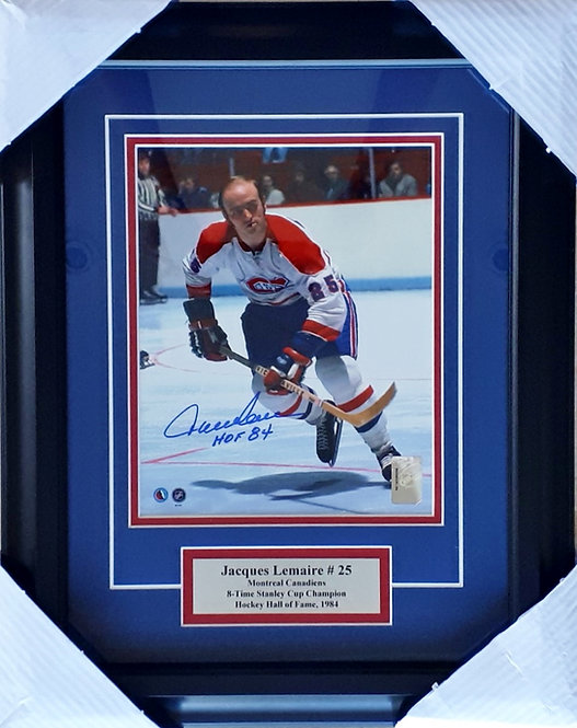 Lemaire, Jacques Autographed Canadiens 8x10 Photo Framed