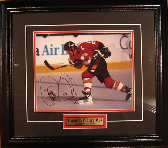 Fleury, Theoren Autographed Flames 8x10 Framed