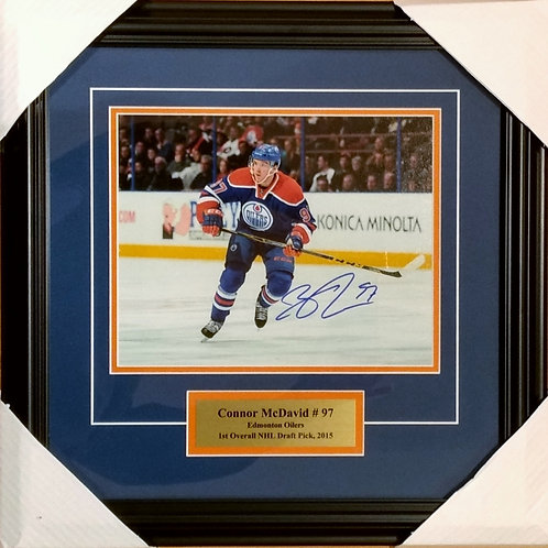 """McDavid, Connor Autographed Oilers """"Blue"""" 8x10 Photo Framed"""