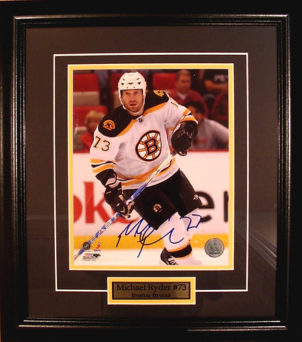 Ryder, Michael Autographed Bruins 8x10 Photo Framed