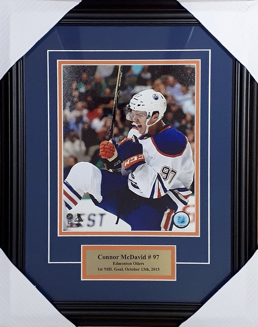 "McDavid, Connor ""1st NHL Goal"" Oilers 8x10 Photo Framed"