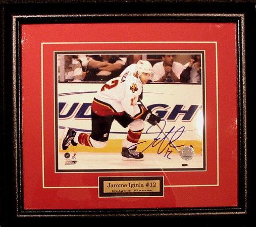 Iginla, Jerome Autographed Flames 8x10 Framed