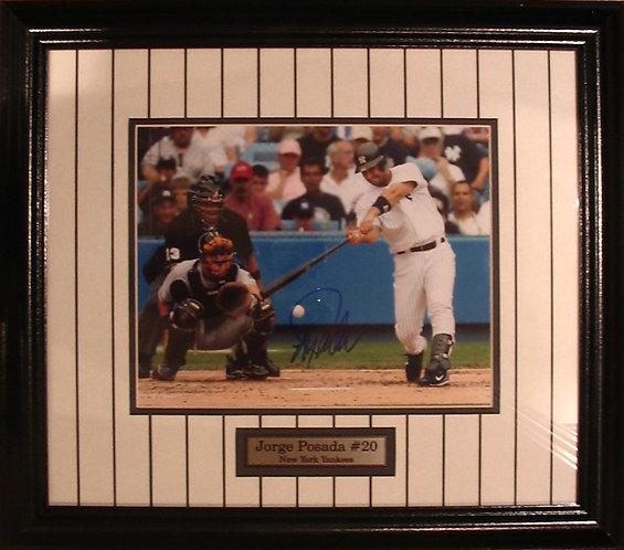 Posada, Jorge Autographed Yankees 8x10 Photo Framed