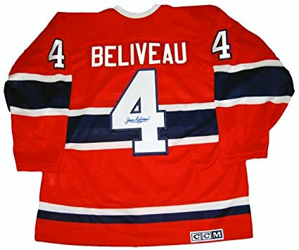 Beliveau, Jean Autographed Canadiens Red Jersey
