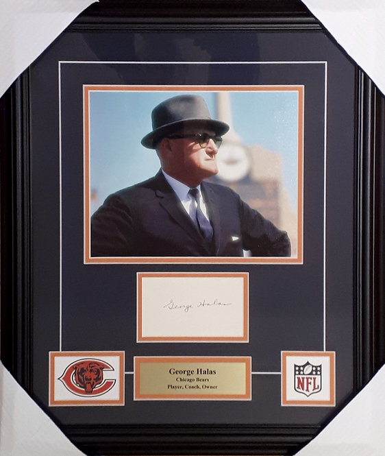 "Halas, George Autographed 3""x5"" with Bears 8x10 Photo Framed"