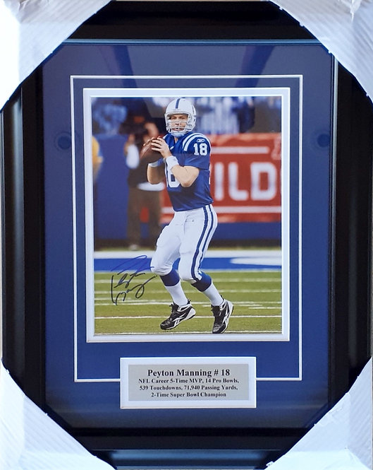Manning, Peyton Autographed Colts 8x10 Photo Framed