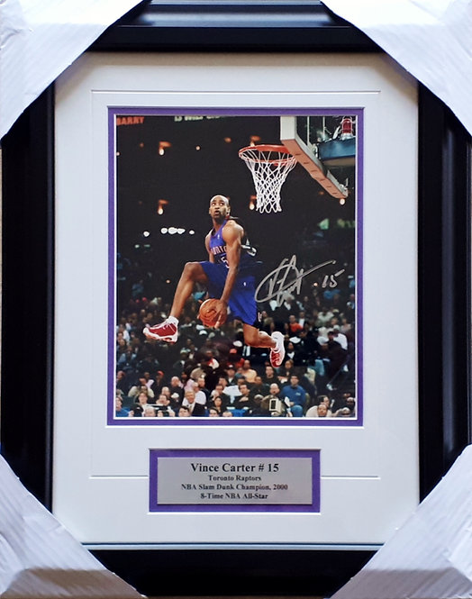 Carter, Vince Autographed Raptors 8x10 Photo Framed