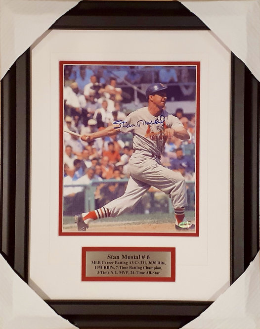 Musial, Stan Autographed Cardinals 8x10 Photo Framed