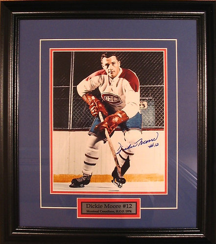 Moore, Dickie Autographed Canadiens 8x10 Photo Framed