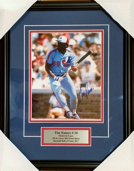 Raines, Tim Autographed Expos 8x10 Photo Framed