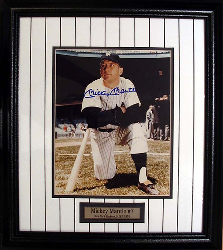 Mantle, Mickey Autographed Yankees 8x10 Photo Framed