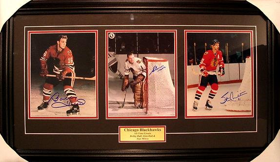 Hull, Mikita & Hall Blackhawks Triple Autographed 8x10's Framed